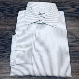 Calvin Klein White w/ Navy Stripe Dress Shirt 16.5